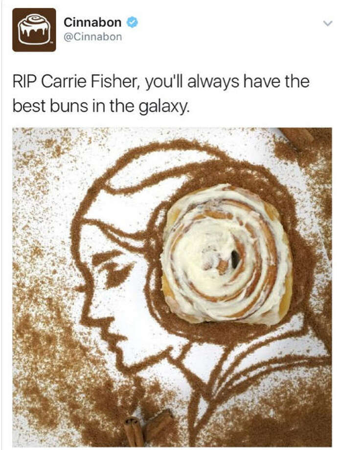 "Cinnabon tried to pay tribute to Carrie Fisher, it didn't play wellCinnabon tried to pay tribute to actress Carrie Fisher, who played ""Princess Leia"" in the ""Star Wars"" movies, after sh died on Dec. 27, 2016. They got a decidedly mixed response from the Internet. Click through to see some of the reactions. Photo: Twitter"