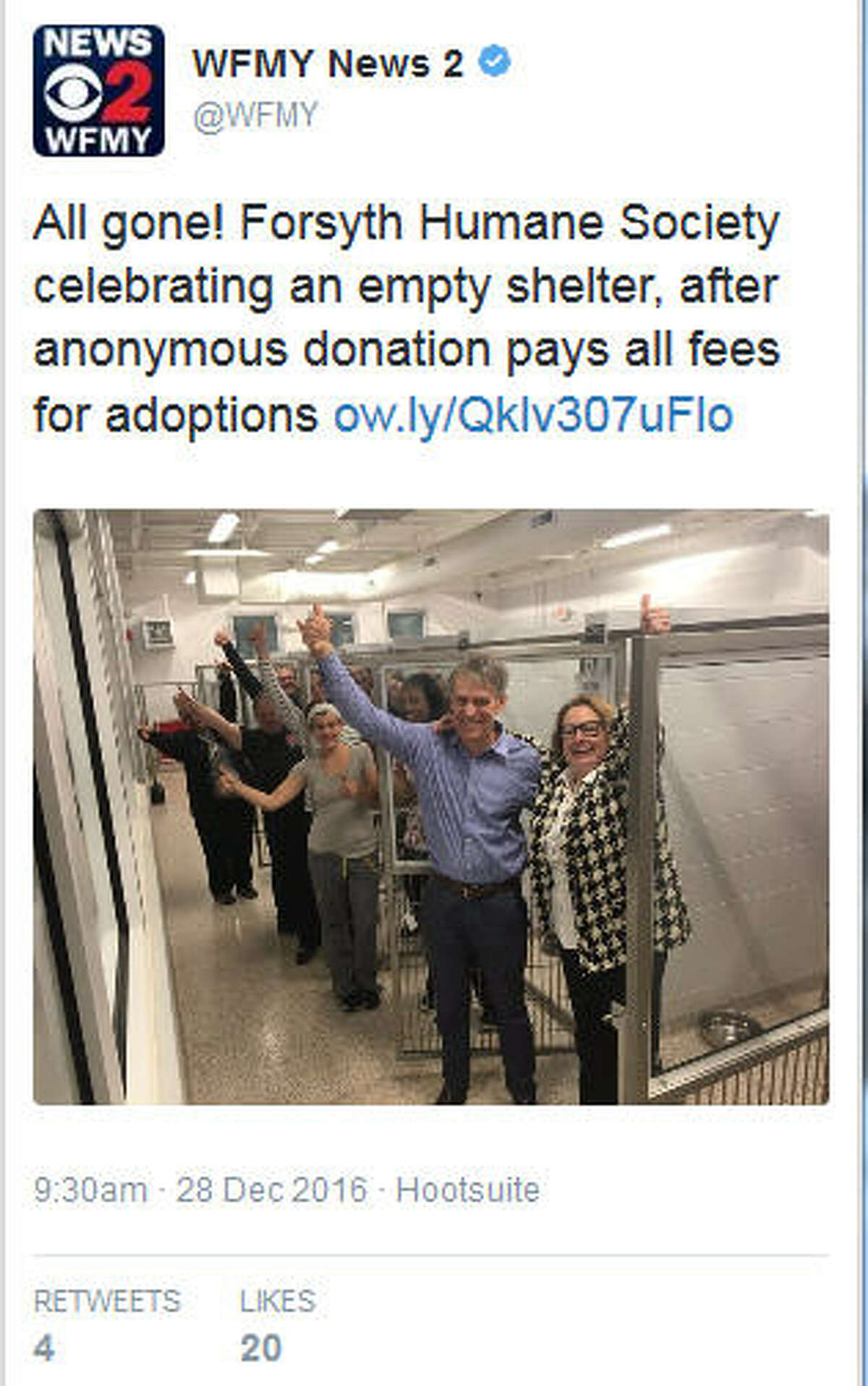 The staff at Forsyth Humane Society in Winston-Salem, N.C., celebrate having nearly all the cages empty through donated adoptions, Dec. 27, 2016. Twitter/@WFMYKeep clicking to see some of the animals adopted out under a $5,000 donation:
