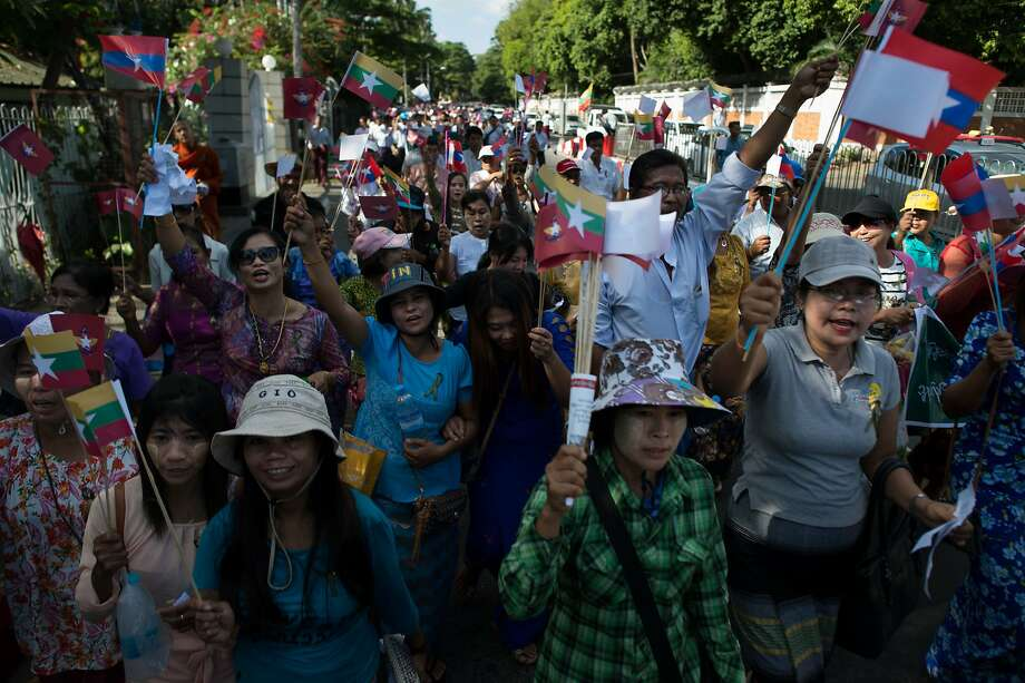 Activists show support last week in Yangon for government soldiers fighting rebels in the country's northern Kachin state. Photo: YE AUNG THU, AFP/Getty Images