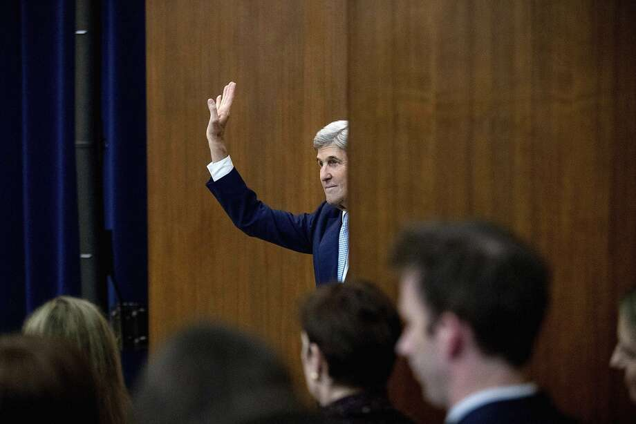In a farewell speech, Secretary of State John Kerry unveiled a six-part outline of what a future two-state vision for peace could look like. Photo: Andrew Harnik, Associated Press