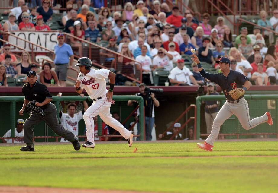 Brauly Mejia of the Tri-City ValleyCats is caught between third base and home plate as he tries to score during Monday night's game against the State College Spikes at Joe Bruno Stadium on July 4, 2016, in Troy, N.Y. (Will Waldron/Times Union) Photo: Will Waldron / 20037196A
