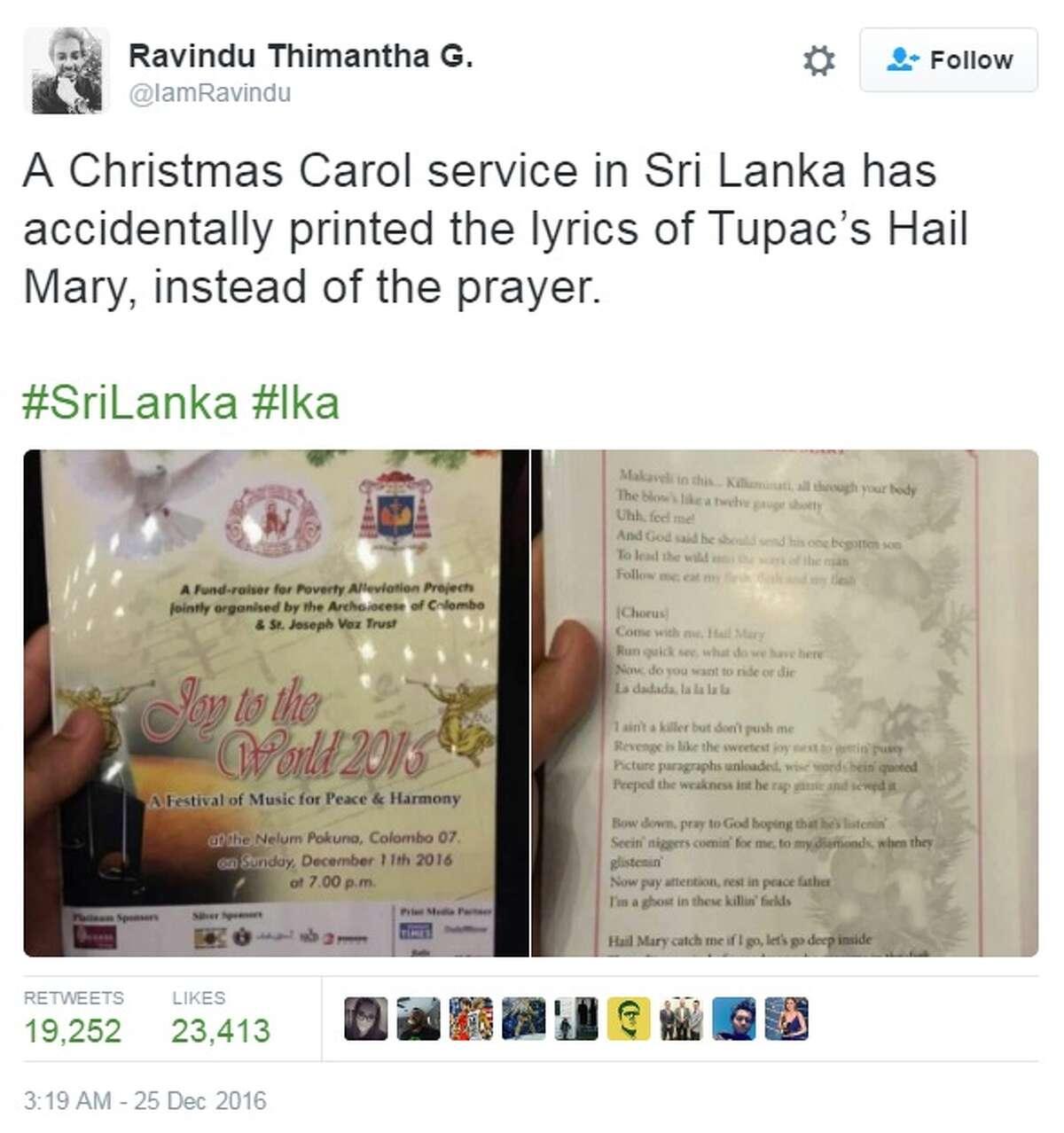 A church in Sri Lanka printed Tupac's