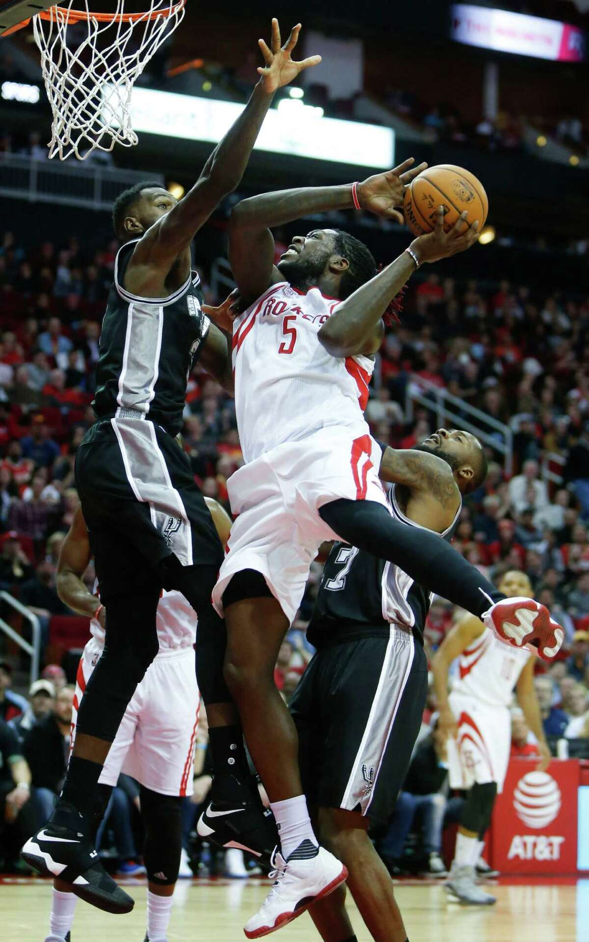 The Rockets praise Montrezl Harrell (5) for his ability to finish in the paint even though he routinely gives up a few inches to his counterpart under the basket.