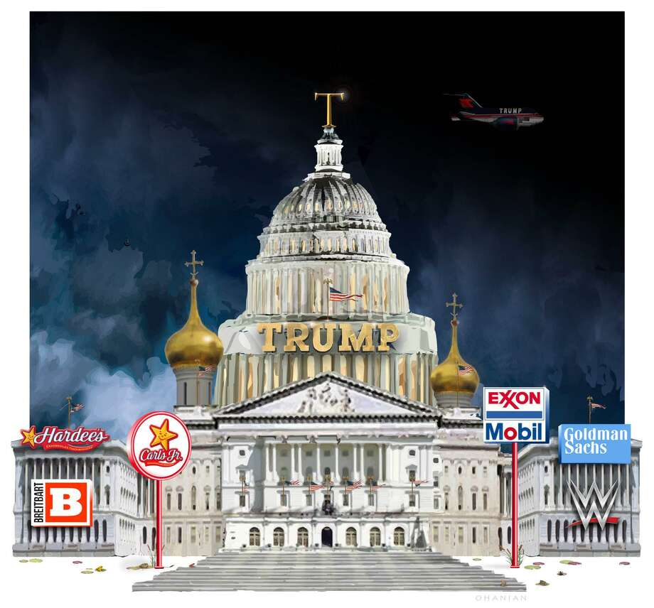 This artwork by Nancy Ohanian refers to Trump s influential corporate cabinet choices. Photo: Nancy Ohanian