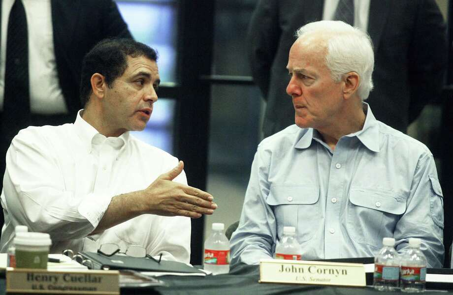 Sen. John Cornyn, R-Texas, right, and Rep. Henry Cuellar, D-Laredo, championed the Cross-Border Trade Enhancement Act, which will allow cities to invest in U.S. ports of entry. Photo: Joel Martinez /Associated Press / The Monitor