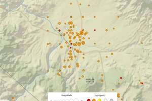 This view of the Wednesday, December 28th, 2016 quake swarm near Hawthorne, Nevada shows all quakes within 24 hours, including the three quakes of 5.5 magnitude and above  (USGS).