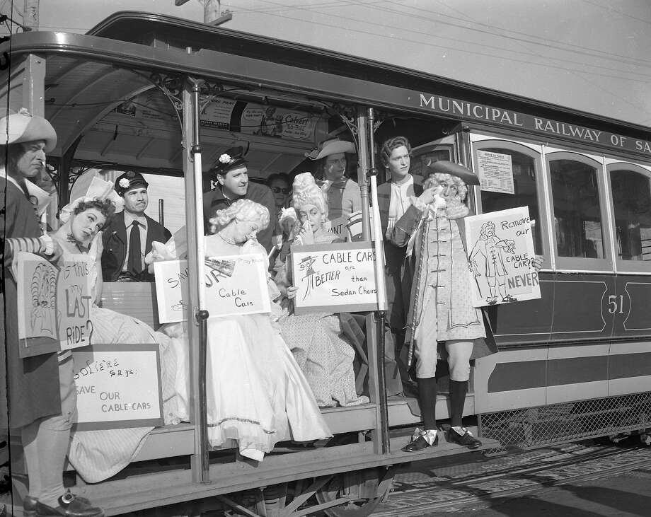 The Playhouse theatre group protests the abandonment of the Hyde Street Cable Car line on May 15, 1954.
