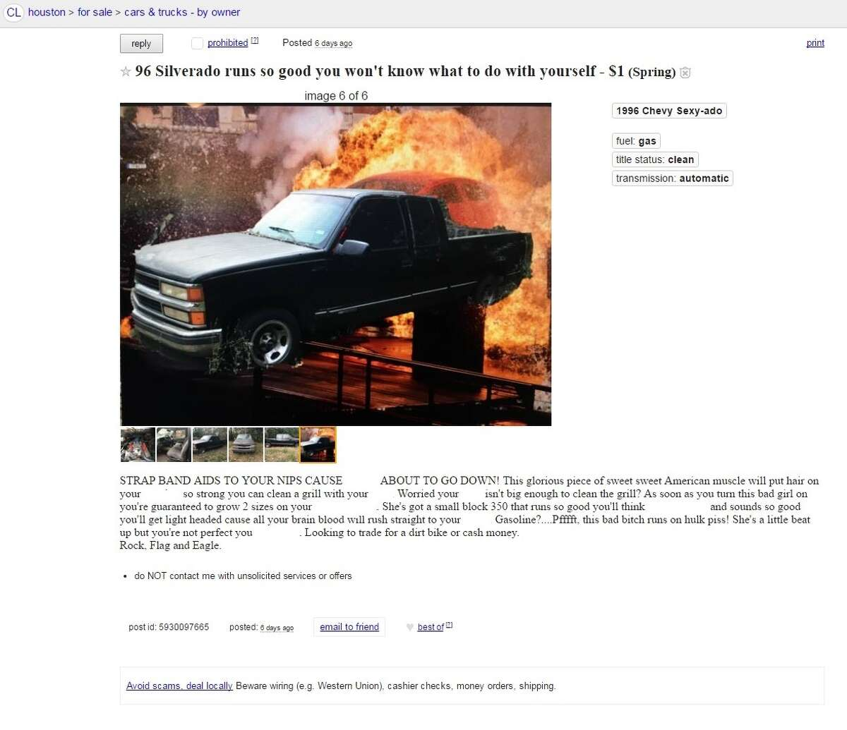 A Craigslist user in Spring has posted a crude ad for a pickup truck, calling it a