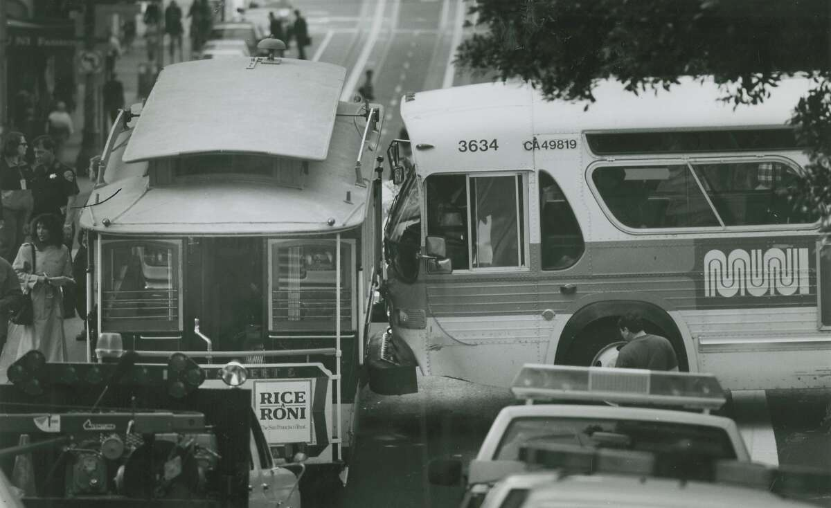 A Muni bus hit a cable car on Bush at Powell Streets. An elderly woman getting on was injured as the cable car driver tried to grab her as the bus was about to collide, probably saving her life, September 25, 1991.
