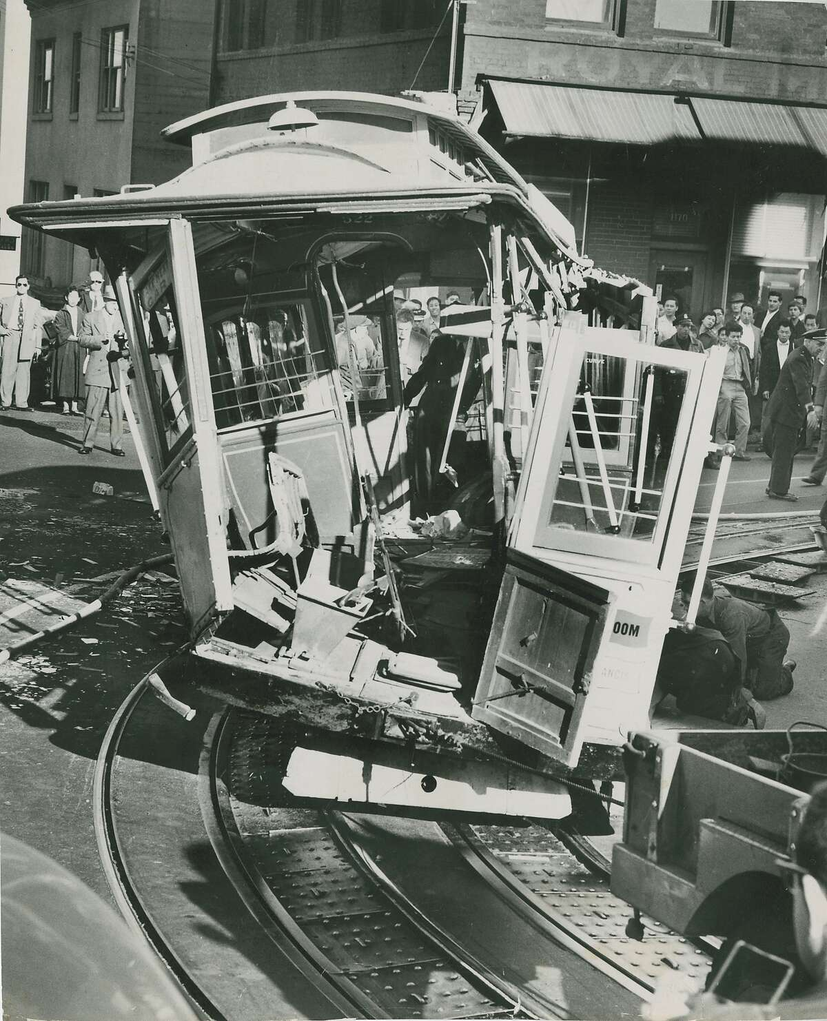 Cable car accident at the corner of Powell and Jackson Streets in San Francisco, September 16, 1955.