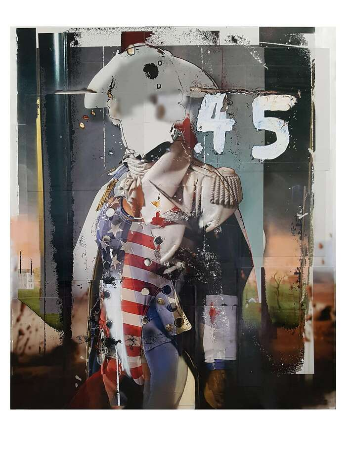 "Deborah Oropallo, "".45"" (2016), photomontage, paint and canvas, 70 x 60 inches. Photo: Courtesy Catharine Clark Gallery"