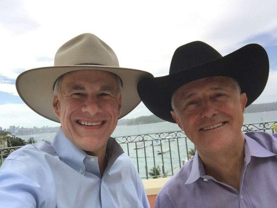 Gov. Greg Abbott and Australian Prime Minister Malcolm Turnbull show off their Akubra and Stetson hats. Photo: Courtesy Photo / Greg Abbott