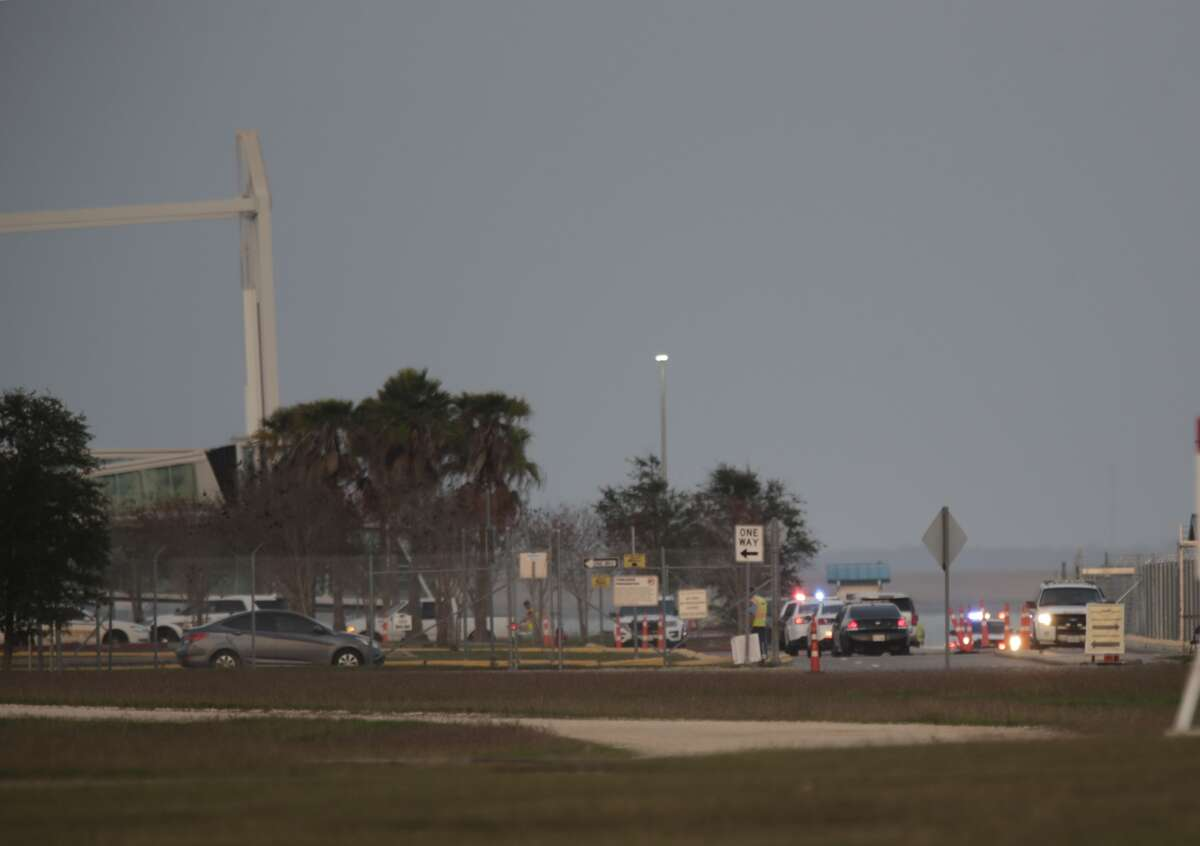 An Apache helicopter went down in the water near the Bayport Cruise Terminal on Wednesday.