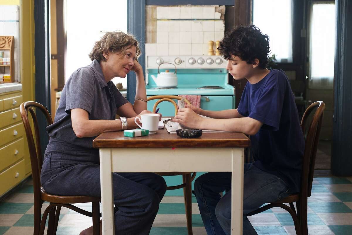 """Annette Bening and Lucas Jade Zumann as mother and son in the new film """"20th Century Women,"""" written and directed by Mike Mills. Photo by Merrick Morton, courtesy of A24"""