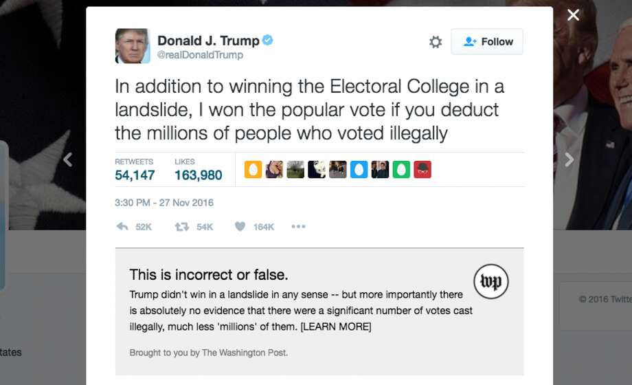 Screenshots of The Washington Post's new Chrome extension, which fact-checks President-elect Donald Trump's tweets. Photo: The Washington Post