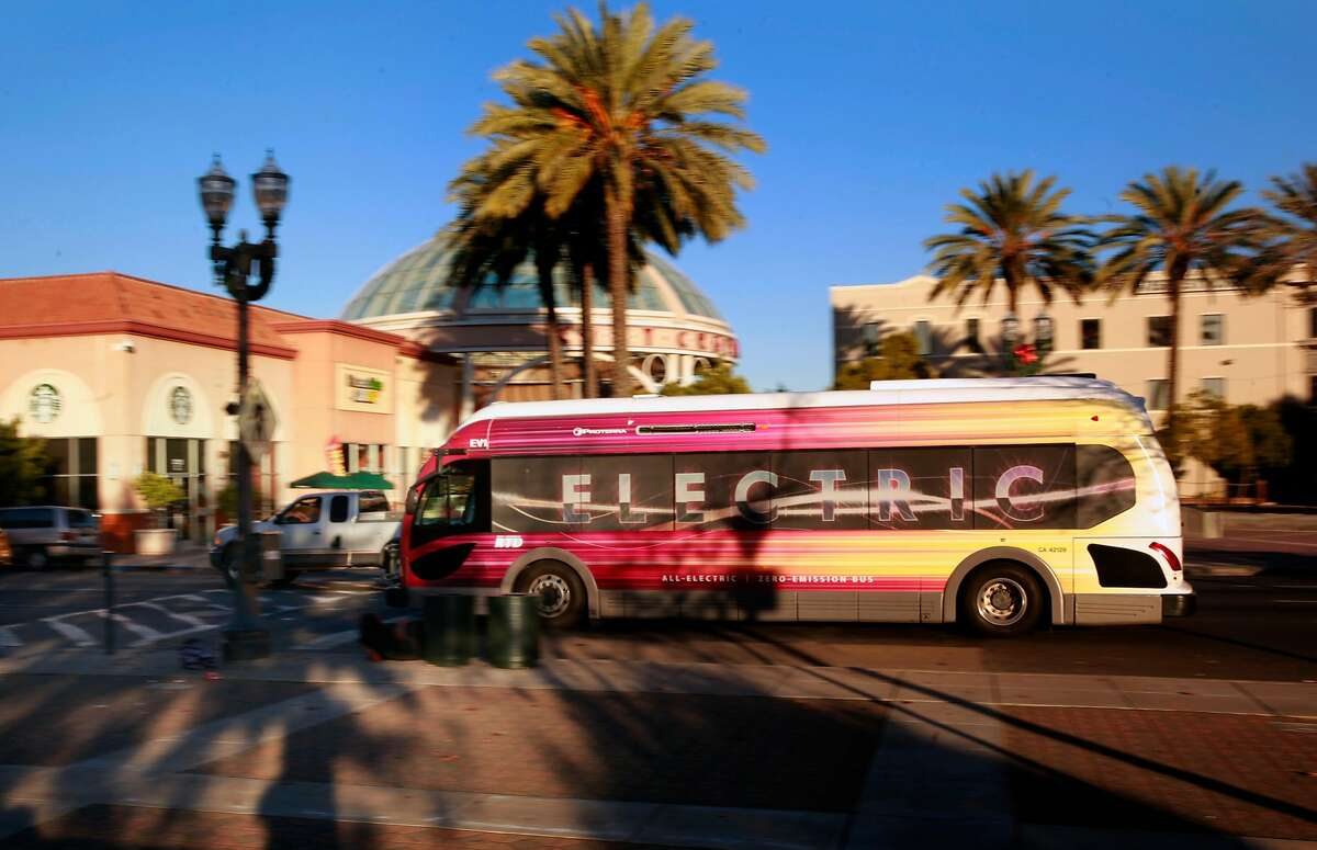 An all electric Proterra bus moves through downtown on Route 60 in Stockton, California, on Wednesday December 28, 2016.The Stockton-based San Joaquin Regional Transit District currently operates two 35-foot Proterra buses in their fleet.