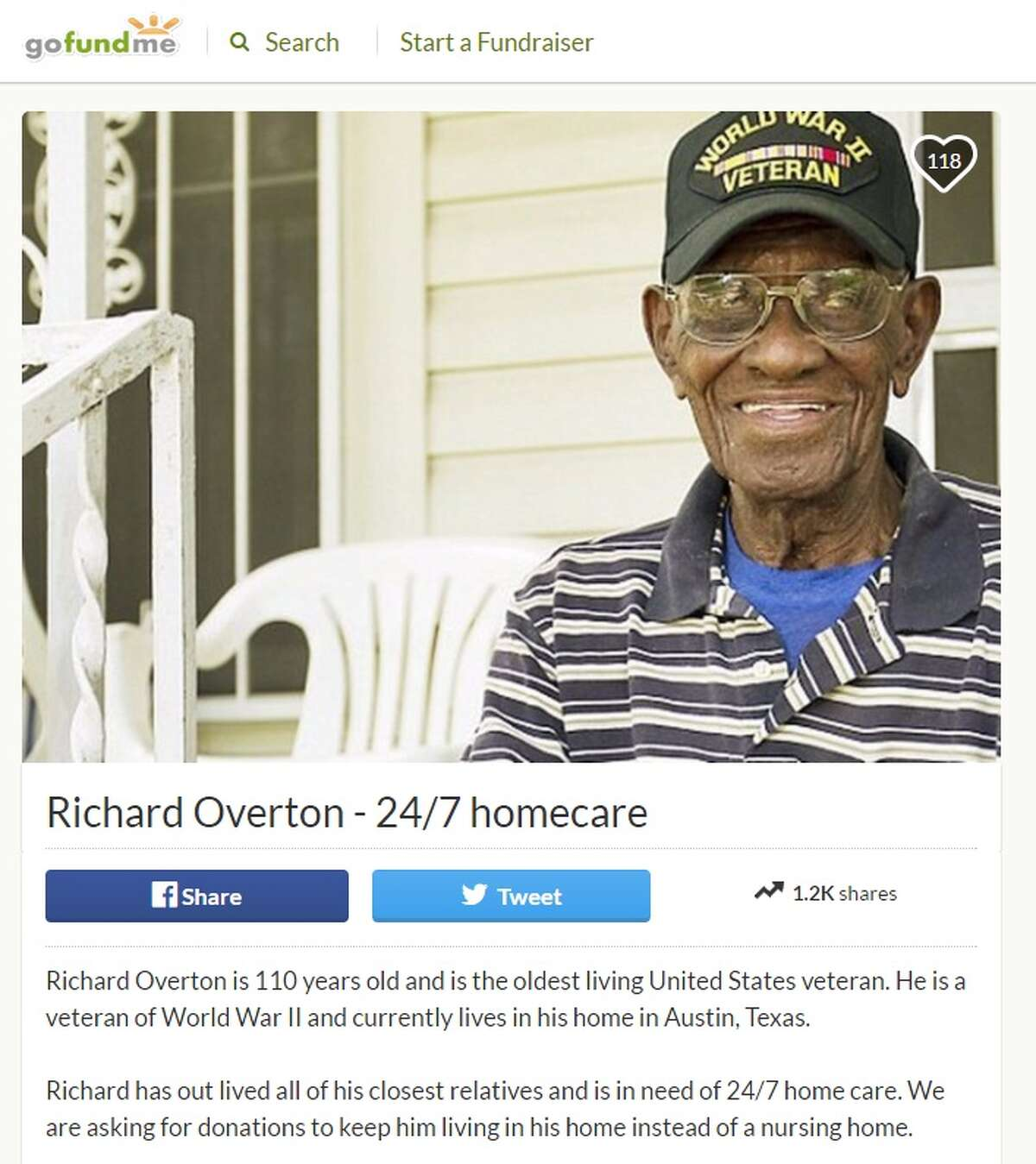 Loved ones of Richard Overton, the oldest-living United Sates veteran, have started a GoFundMe page in hopes of raising enough money for his care at home, instead of in a nursing home. Image source: GoFundMe