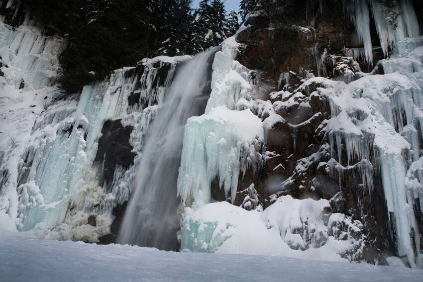 A majorly frozen Franklin Falls near Snoqualmie Pass photographed on Wednesday, Dec. 28, 2016.