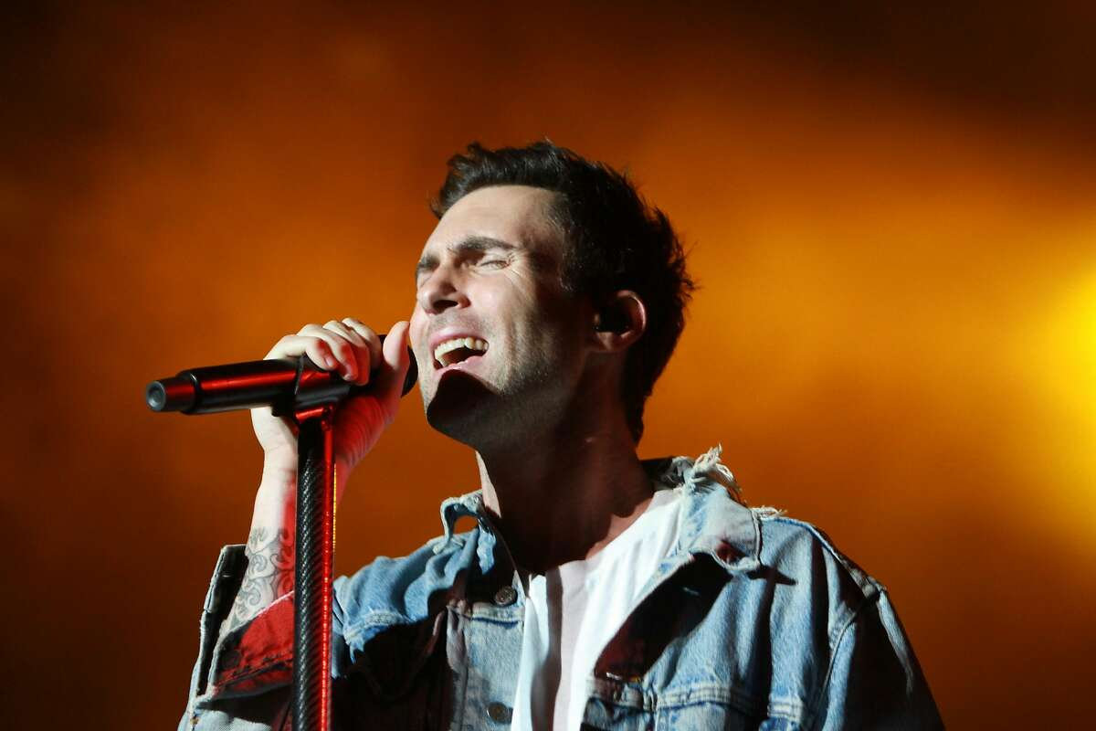 Adam Levine of Maroon 5 performing at the March Madness Music Fest at Discovery Green.