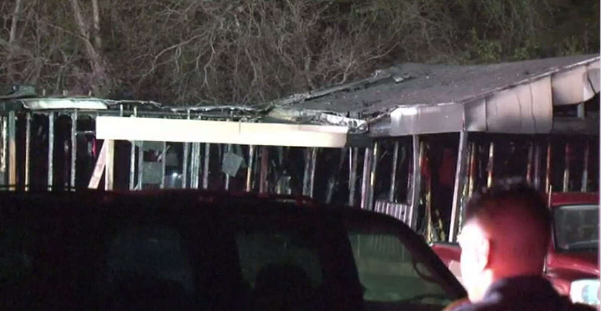A fire and apparent explosion at a mobile home about 8:45 p.m. Wednesday, Dec. 28, 2016, rocked a neighborhood in he Crosby area in northeast Harris County. (Metro Video)