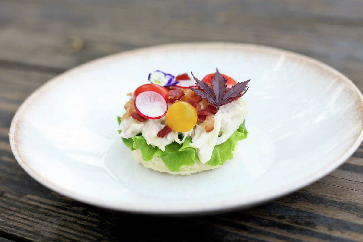 Texas blue crab with tomato, bacon and butter lettuce at Riel restaurant, Houston