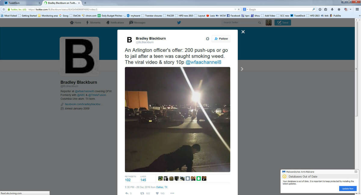 This screen shot of a video making the rounds on social media shows Arlington police Officer Eric Ball letting an unnamed teenager who was allegedly smoking marijuana outside a movie theater do 200 pushups instead of being arrested. (Twitter/@BLBlackburn)Keep clicking to see teens who made the news after being charged with a crime: