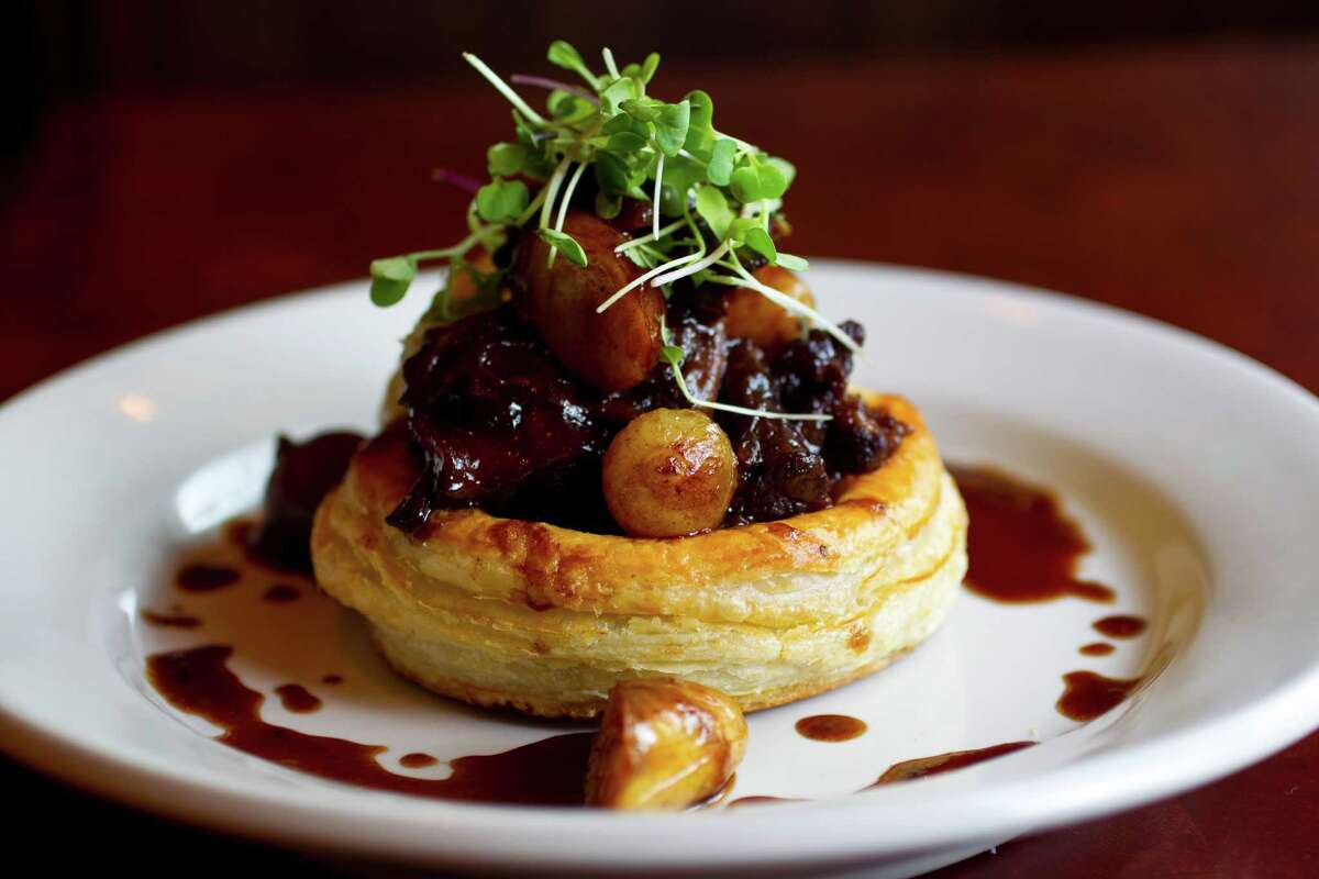 The Laurenzo family, owners of El Tiempo Cantina restaurants and Laurenzo's on Washington, plan to open a second Laurenzo's at 1910 Bagby in the former Republic Smokehouse location in Midtown. They expect to open before the Super Bowl. Shown: Oxtails (vol-au-vent) in red wine and demi glaze at Laurenzo's.