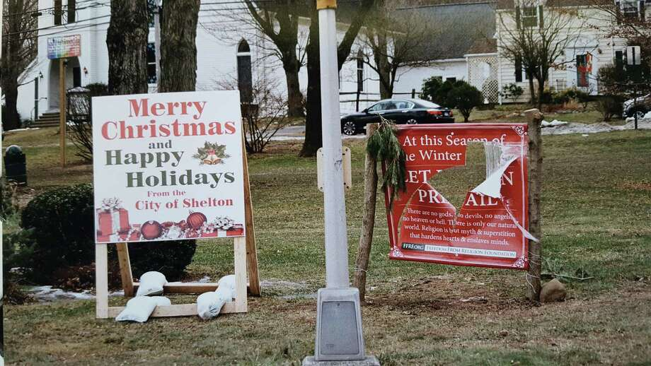 A sign marking the winter solstice on the Huntington Green was vandalized twice, police said. Photo: Contributed Photo
