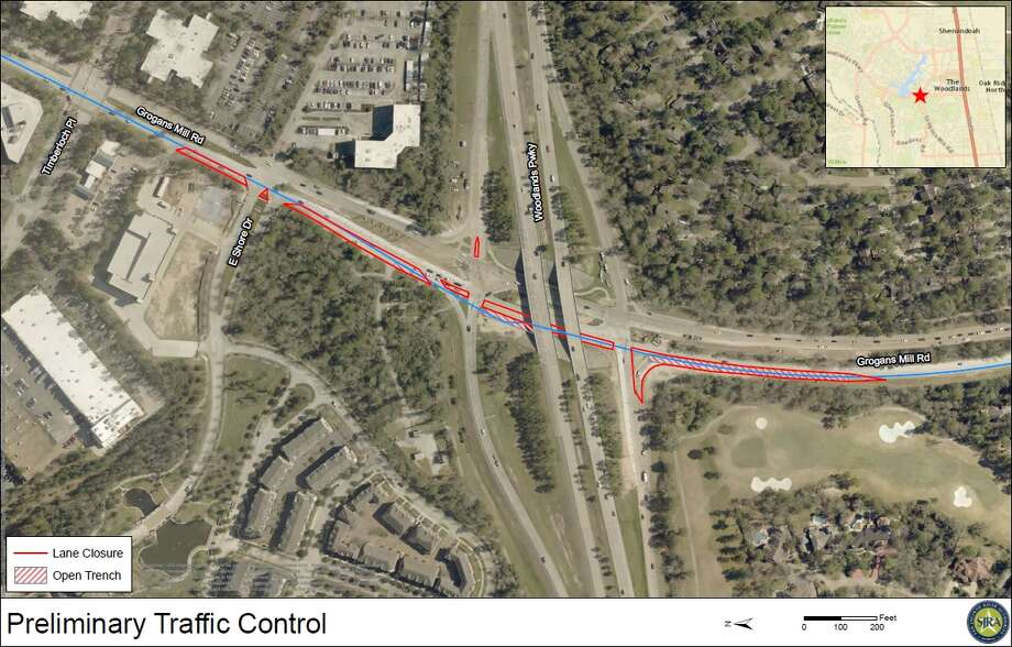 The San Jacinto River Authority, which owns the pipeline that burst in May and again in November, will have the outside southbound lane of Grogans Mill Road near Woodlands Parkway closed from January until late April as they replace the existing damaged pipe Photo: Courtesy San Jacinto River Authority