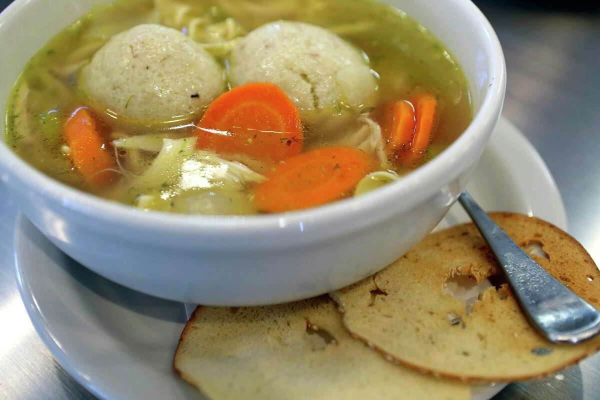 Matzo ball soup is one of the H-E-B options from Max & Louie's New York Diner.