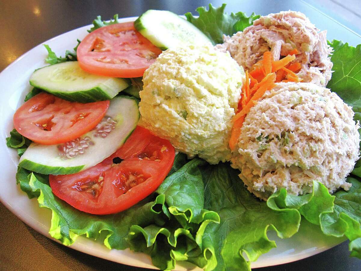 A trio of salads - egg salad, chicken salad and tuna salad - is one of the H-E-B options from Max & Louie's New York Diner.