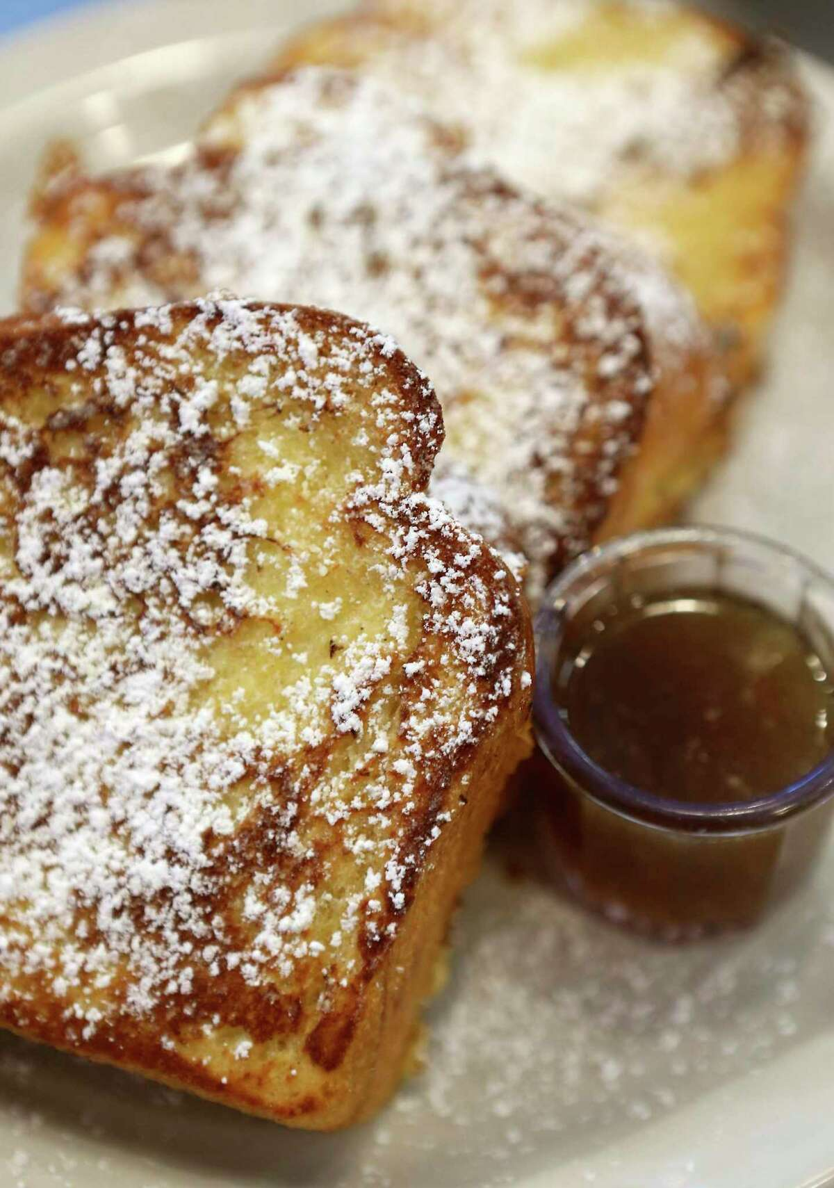 Challah bread French toast is one of the H-E-B options from Max & Louie's New York Diner.