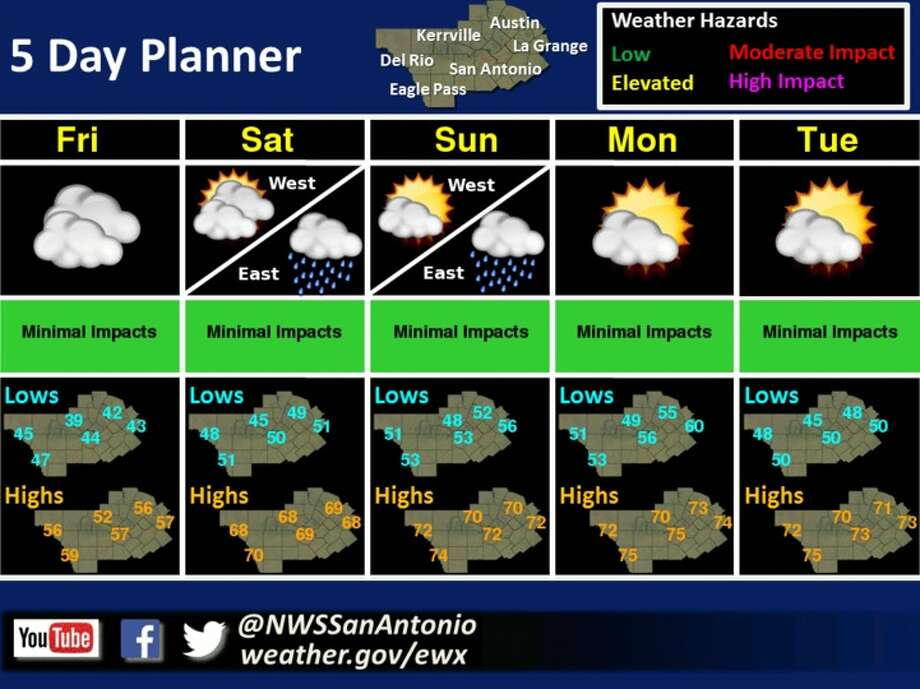 The five-day forecast for New Year's Eve weekend 2016. Photo: Courtesy/National Weather Service