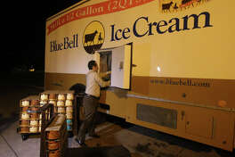 Blue Bell Ice Cream Territory Manager Mark Gomez unloads Blue Bell ice cream Monday December 14, 2015 at the H-E-B store at 300 West Olmos. Blue Bell ice cream products are returning to Texas retailers after being recalled.