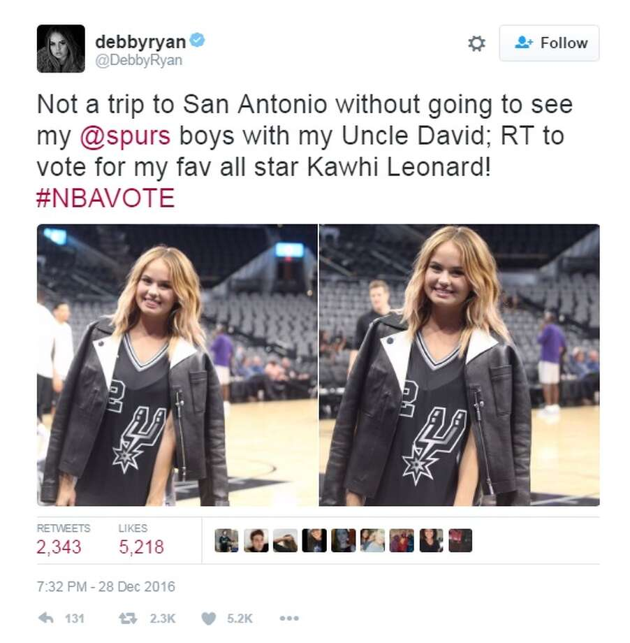 Spurs' Kawhi Leonard got an assist from Disney star Debby Ryan, who cast her vote to send The Klaw to the All-Star Game from her courtside seats Wednesday night. Photo: Twitter, Instagram