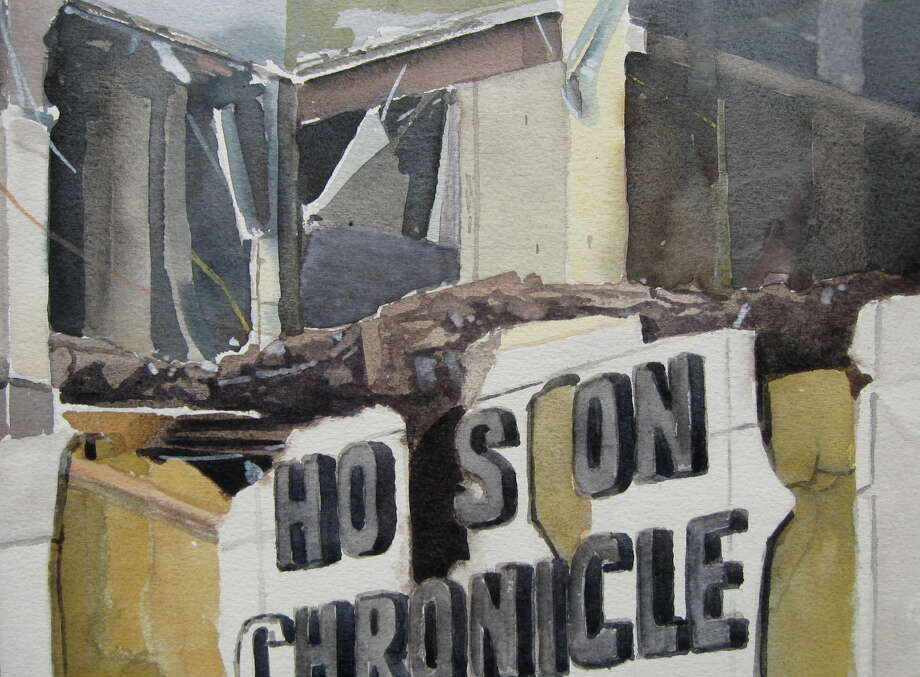 Ken Mazzu: Houston History SeriesThis painting is one of Houston artist Ken Mazzu's most recent additions to his Houston History Series. The series is based  upon photographs he has taken of various demolition sites around the  city, 2010 to 2016.The oil-on-canvas work shows the former Houston Chronicle headquarters at 801 Texas, where demolition began in Summer 2016. It is part of an exhibition scheduled for Jan. 6-28, 2017, at William Reaves/Sarah Foltz Fine Art gallery, 2143 Westheimer.Keep clicking to see other demolition paintings by Ken Mazzu and the former buildings they depict: Photo:  Ken Mazzu