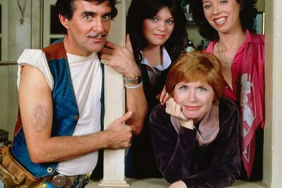 Norman Lear's 'One Day at a Time' of the '70s and '80s: Ann Romano (Bonnie Franklin) is bookended by her two daughters (Valerie Bertinelli and Mackenzie Phillips) along with building superintendent Schneider (Pat Harrington Jr.)
