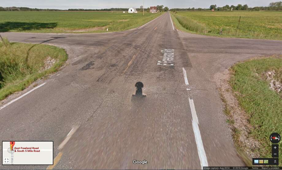 The intersection of Freeland and 5 Mile roads in Mount Haley Township is seen in this file image from Google Maps.