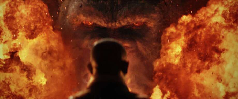 """""""Kong: Skull Island"""" has its share of explosions, but sharp dialogue doesn't get blown away in the process. Photo: Warner Bros. Pictures / © 2016 Warner Bros. Entertainment Inc. All Rights Reserved."""