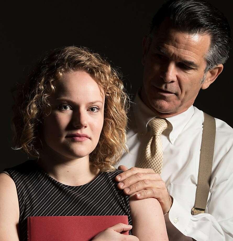 "Madison Worthington, left, and Pat Caulfield in Shelton Theater's ""Oleanna."" Photo: Kyle Chesser, Shelton Theater"