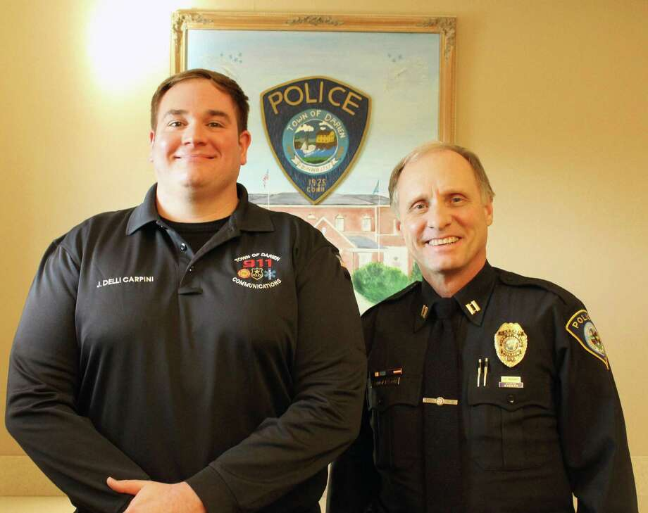 James Delli Carpini, left, is Darien's sole civilian dispatcher and Capt. Don Anderson is in charge of the town's dispatch program. Photo: Erin Kayata / Hearst Connecticut Media / Darien News
