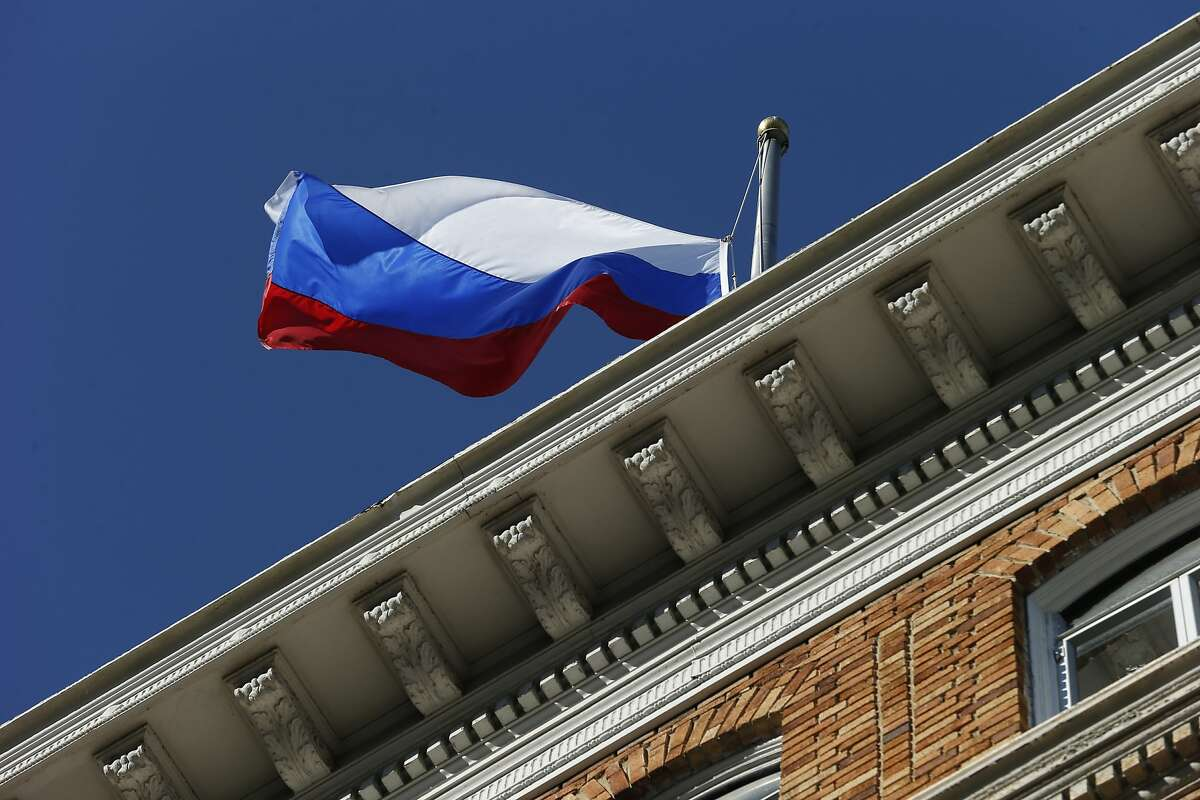The Russian flag is seen outside the Consulate-General of Russia in San Francisco.