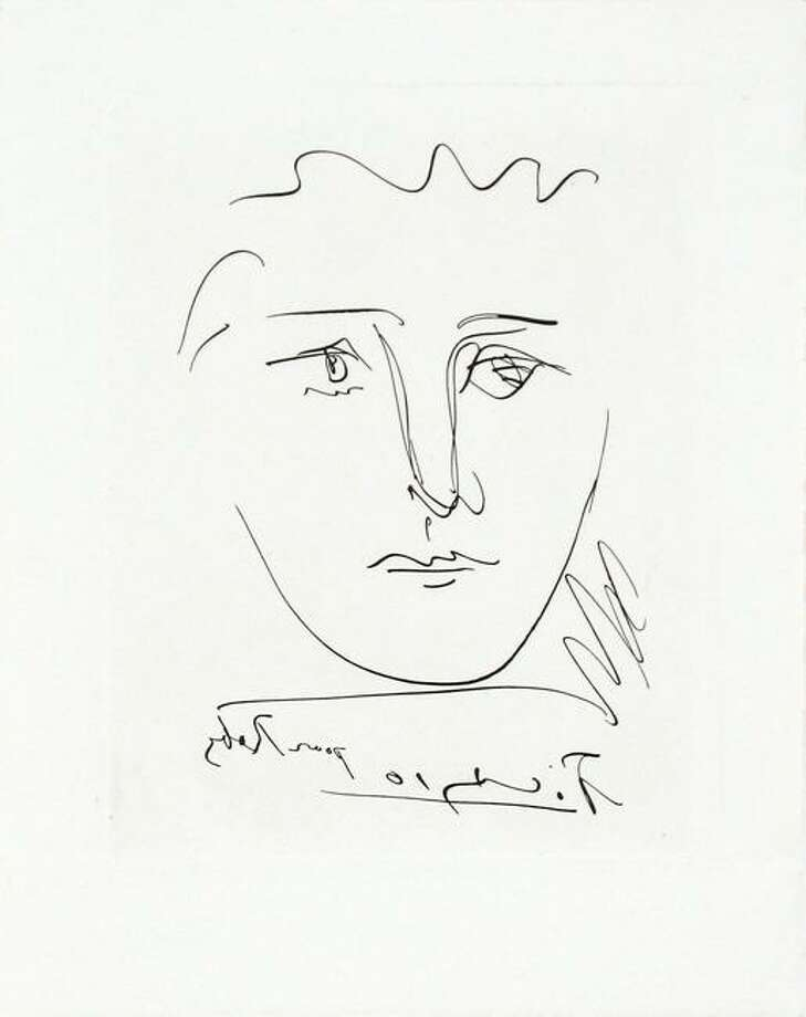 "Pablo Picasso's sketch, ""Pour Robi,"" was donated to the Westport Schools Permanent Art Collection."