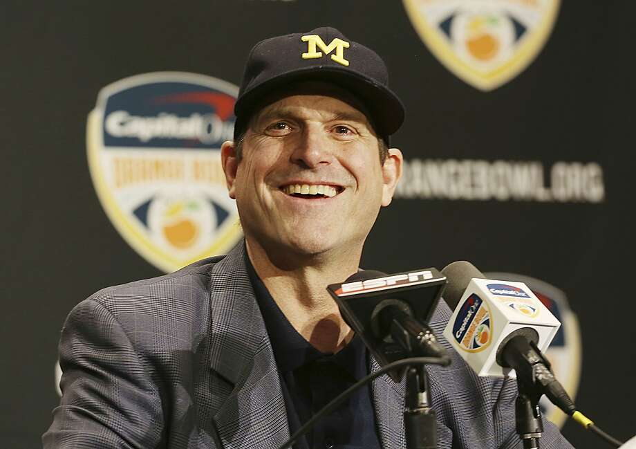Michigan head coach Jim Harbaugh smiles during a news conference in Fort Lauderdale, Fla., Thursday, Dec. 29, 2016. Michigan plays Florida State in the Orange Bowl Friday. (AP Photo/Marta Lavandier) Photo: Marta Lavandier, Associated Press