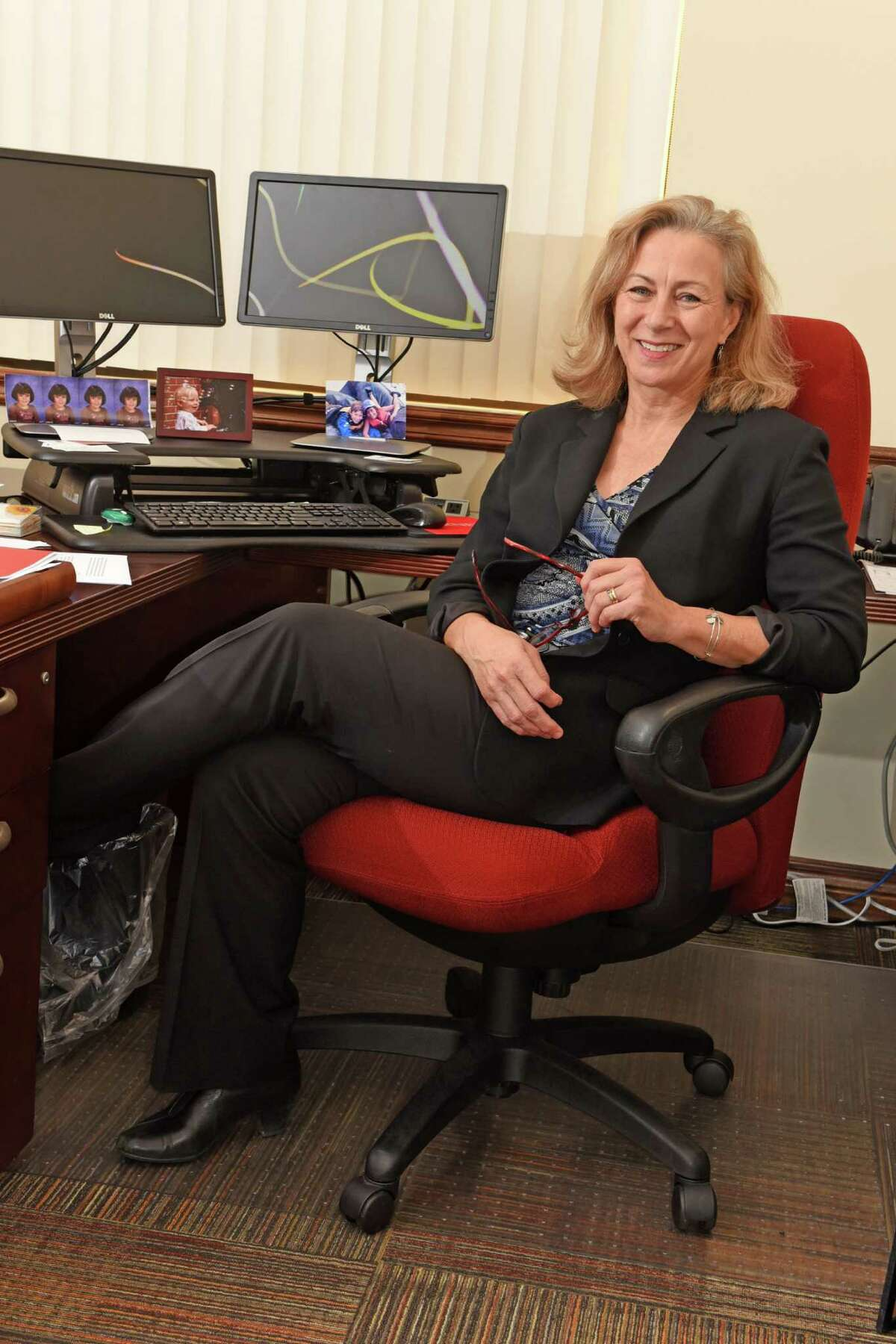 Bea Grause, new president for The Healthcare Association of New York State (HANYS), sits at her desk in her office on Monday, Nov. 14, 2016 in Rensselaer, N.Y. (Lori Van Buren / Times Union)