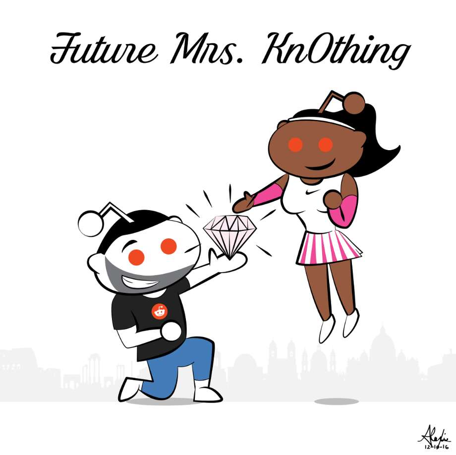 "Tennis star Serena Williams announced her engagement to Reddit co-founder Alexis Ohanian. The Reddit post featured a drawing of Snoo, the site's mascot, dressed as Ohanian kneeling with a diamond in its hand. A female Snoo, styled after Williams floated above him with a smile on her face. Above the picture was the headline, ""Future Mrs. Kn0thing."" It was a nod to the site and its community: Ohanian's handle is Kn0thing. Photo: Reddit.com"