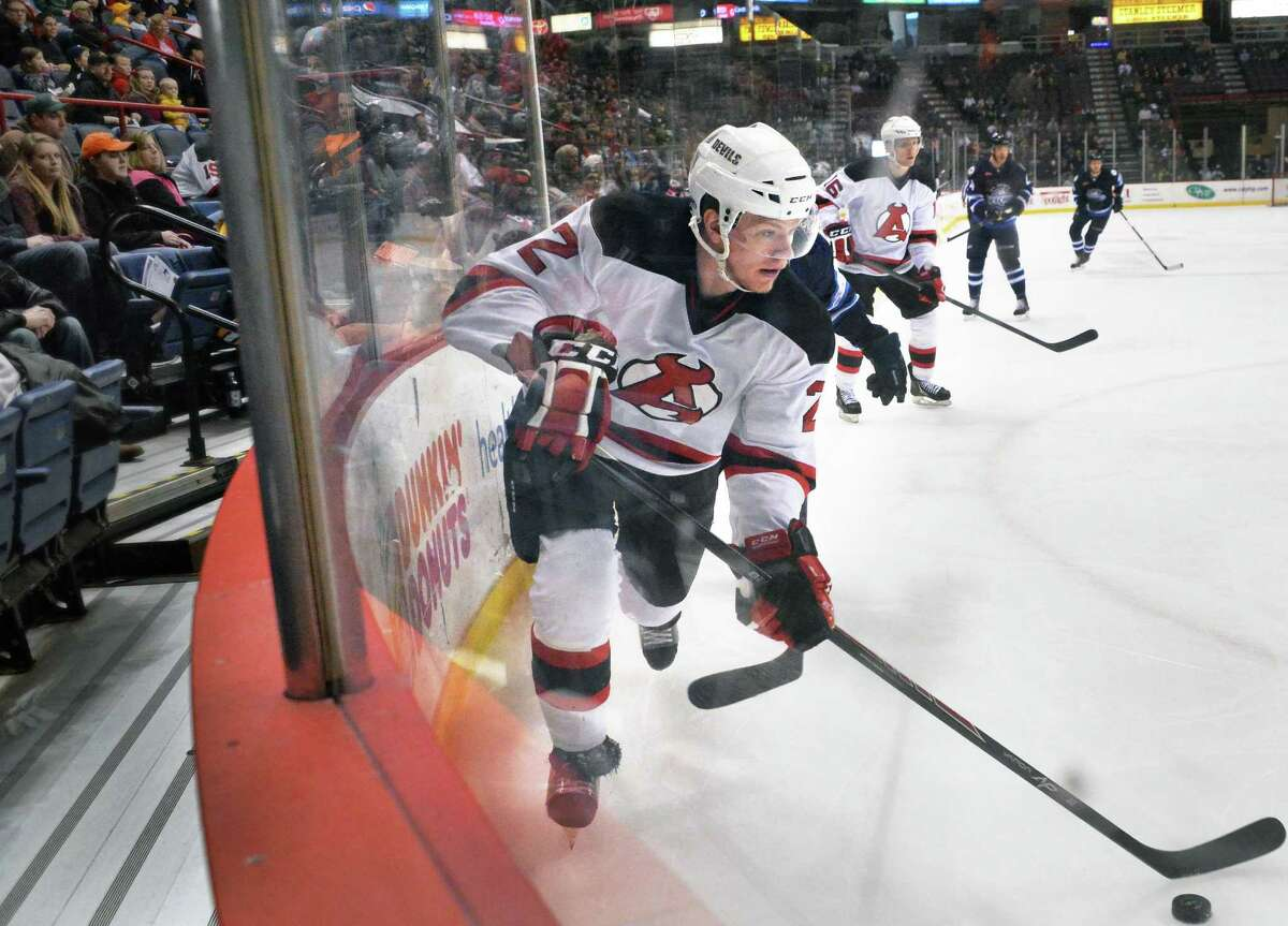 Albany Devils' #2 Seth Helgeson during the second game of a best-of-5 American Hockey League playoff series at the Times Union Center Saturday April 26, 2014, in Albany, NY. ( John Carl D'Annibale / Times Union) ORG XMIT: MER2014042622081420