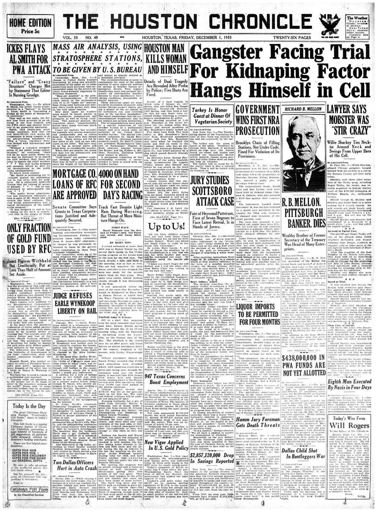 Houston Chronicle front page : December 1, 1933 - section 1, page 1. 4000 ON HAND FOR SECOND DAY'S RACING