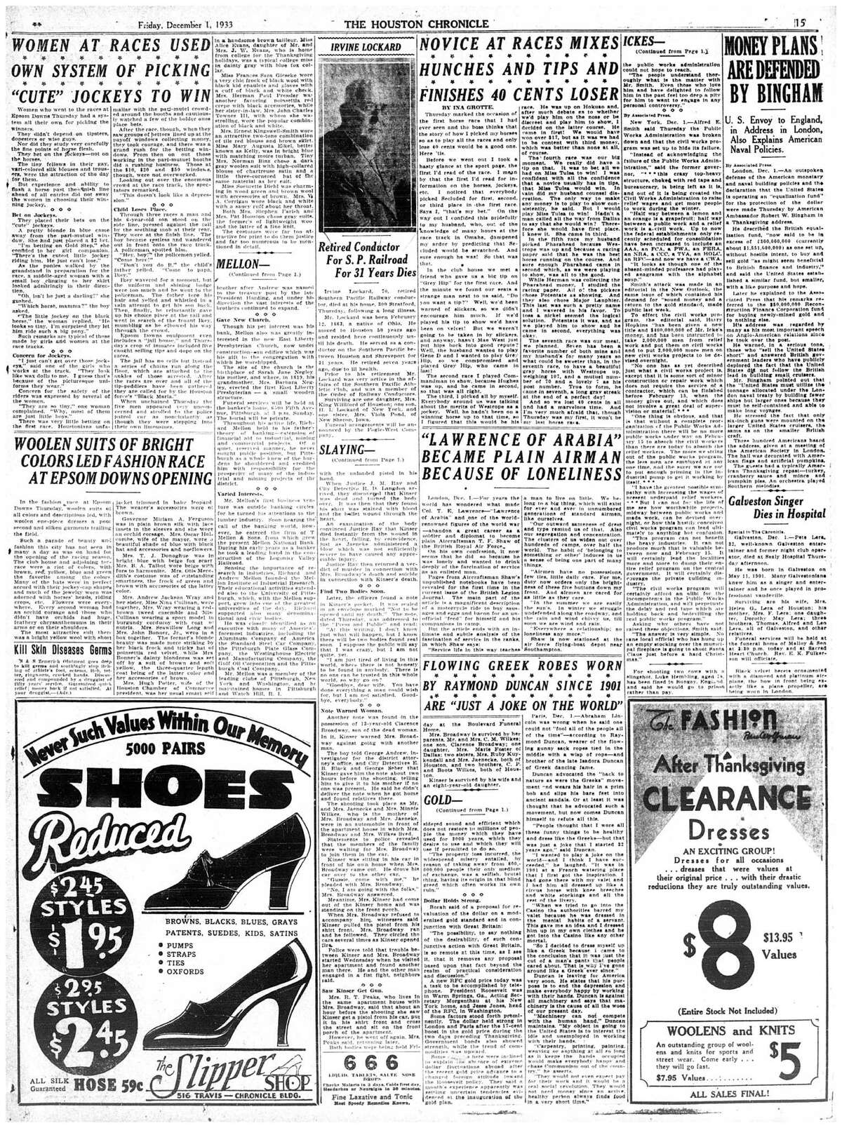 Houston Chronicle inside page. December 1, 1933 - section 1, page 15. Epsom Downs stories:** WOMEN AT RACES USED ON SYSTEM OF PICKING