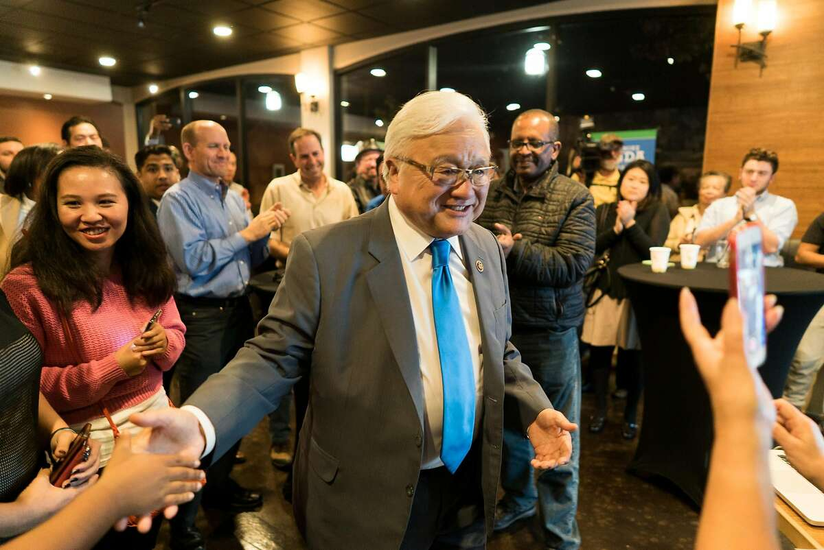 Congressman Mike Honda greets supporters at Justin's in Santa Clara, Calif. on Tuesday, Oct. 8, 2016. Honda has been the representative for the 17th congressional district since 2000.